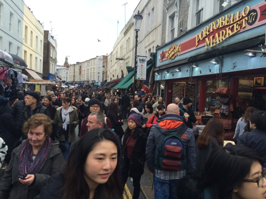 Portobello Road Market, specializing in antiques, is one of 73 public markets in London.