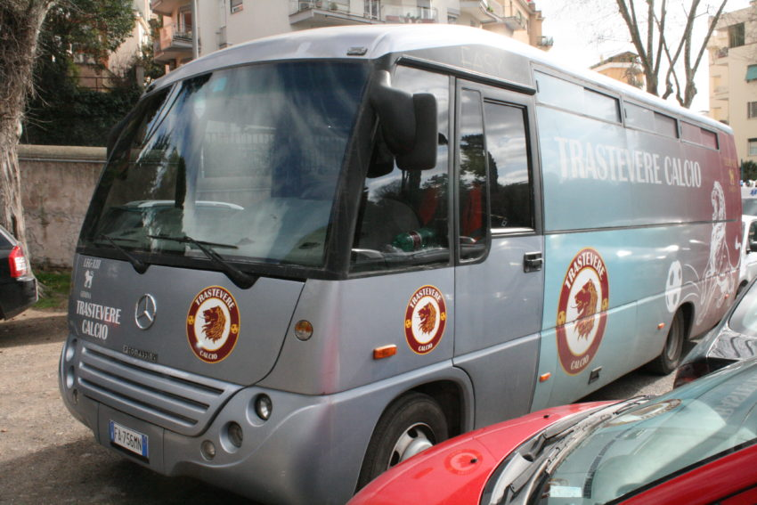 FC Trastevere travels by bus, not plane or even train.