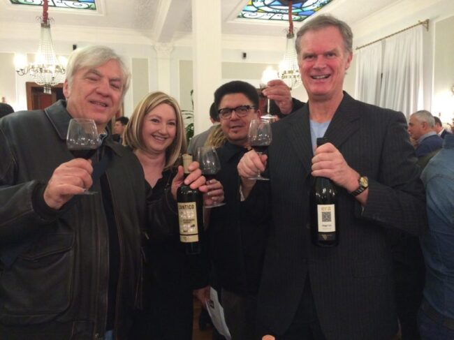 At the Wine Tastings of Rome Meetup at the Hotel Imperiale (from left): Alessandro Castellani, Vanessa Rispin, Robert Della Vedova, me.