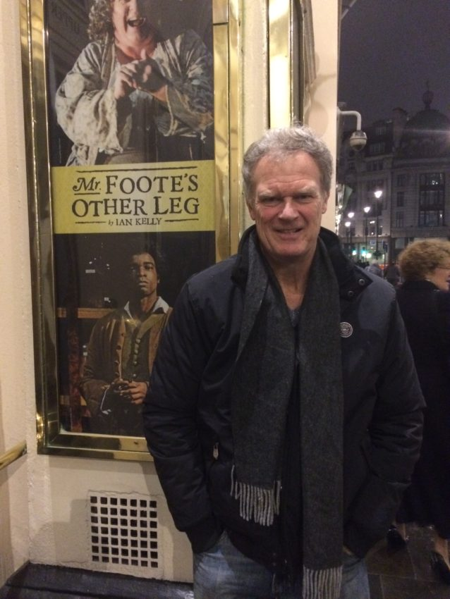 "Me outside Theatre Royal Haymarket where I saw ""Mr. Foote's Other Leg."""