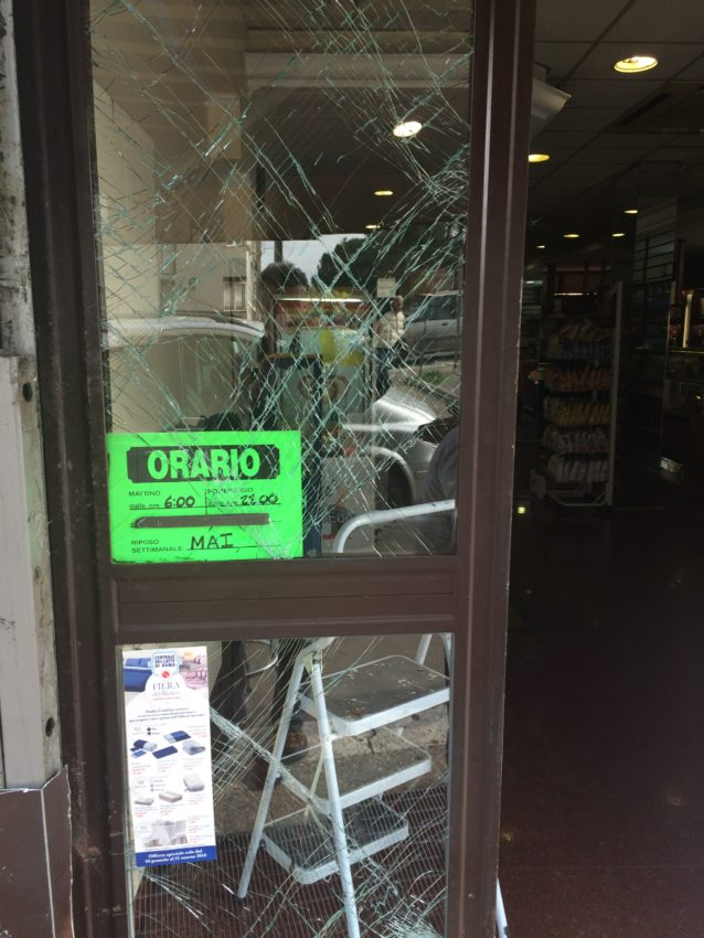 Someone rammed their car into the storefront and robbed Sansotta's cash box.
