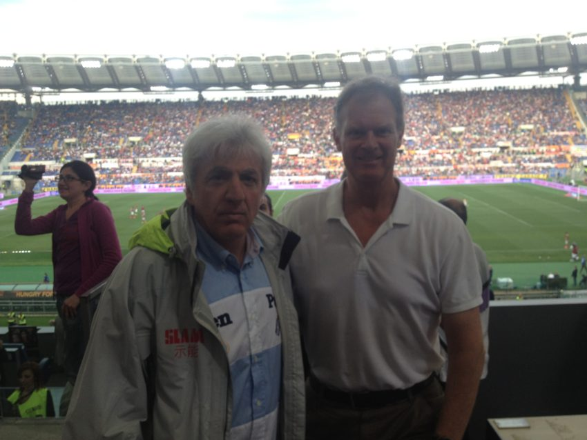 With friend and ANSA sportswriter Alessandro Castellani at Stadio Olimpico.