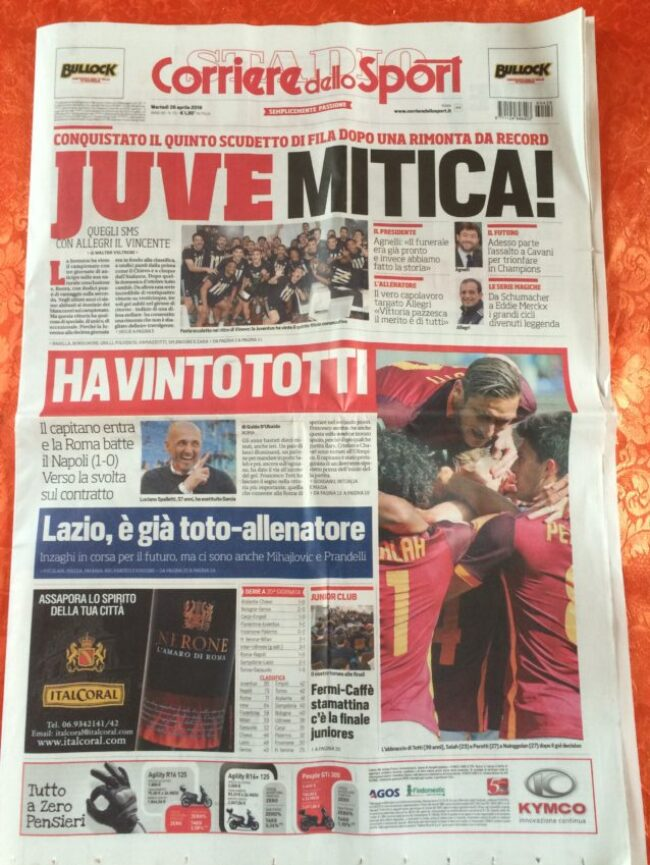The front page of Tuesday's Corriere dello Sport, writing how Roma's win over Napoli gave Juventus its fifth straight Serie A title.