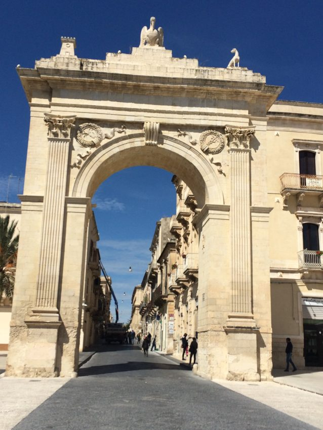 Noto's gate leading to maybe the prettiest street in Sicily, Corso Vittorio Emanuele.