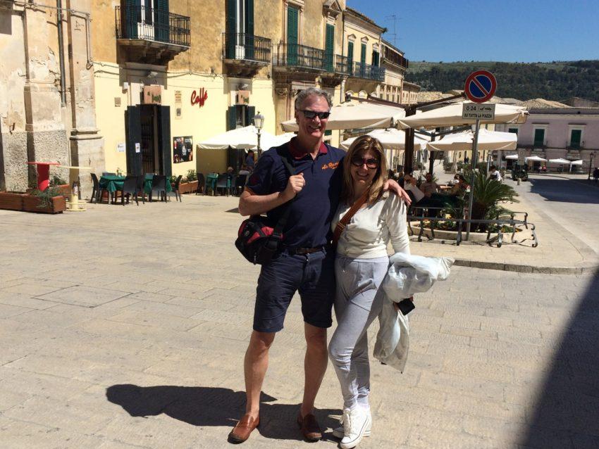 Marina and I in Ragusa's Piazza del Duomo.