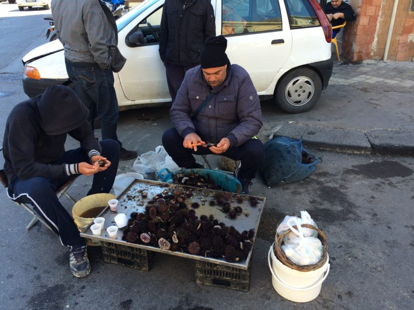 Selling sea urchins on the street corner.