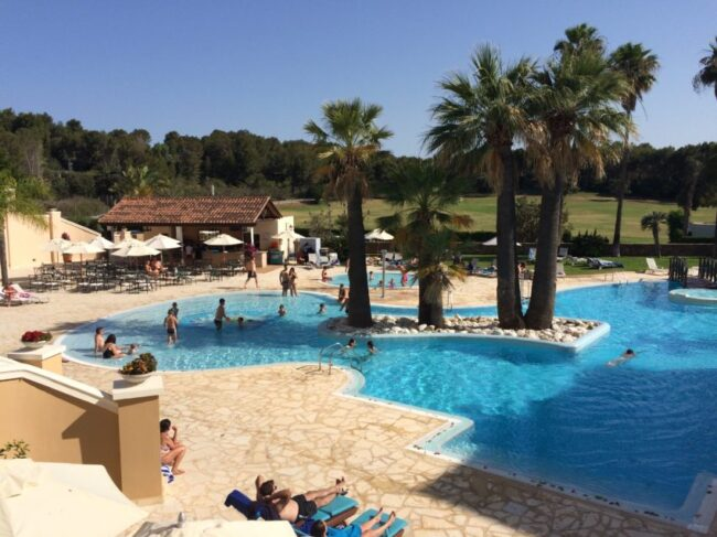 The pool at the Denia Marriott, located on the peninsula across the Gulf of Valencia from Ibiza.