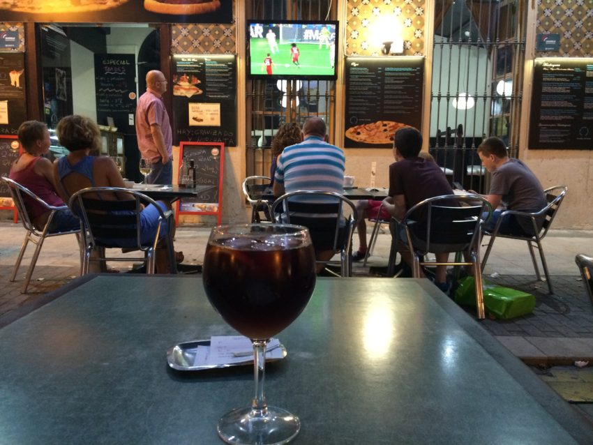 Watching soccer Spanish style: With a sangria.