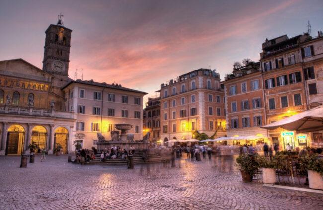 Piazza Santa Maria in Trastevere is the heart of the Trastevere neighborhood.