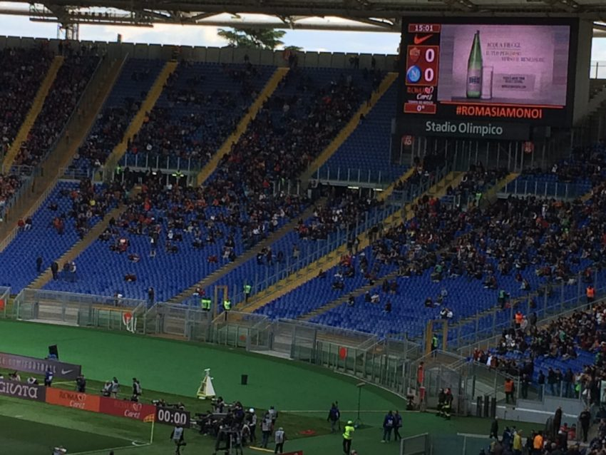 Olympic Stadium's Curva Sud was barely half full for last May's crucial match with Napoli.