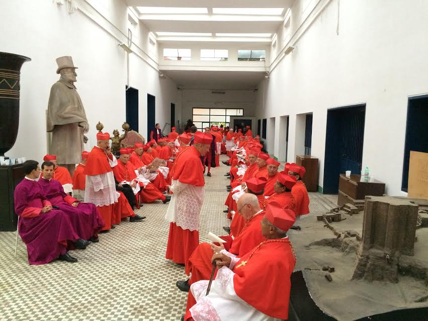 "The 120 cardinals wait to take center stage in the filming of ""The Young Pope."""