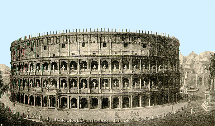 The Roman Colosseum after its completion in 80 AD.