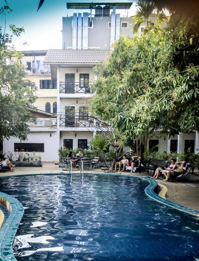 The pool at my Vientiane Garden Hotel.