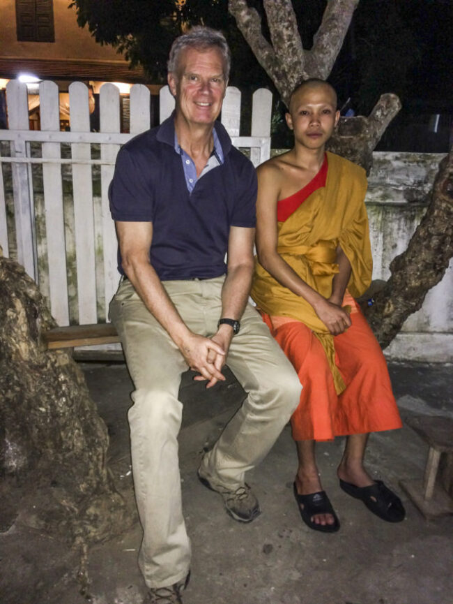 Me and Bounnakh, 19, outside his monastery in Luang Prabang, Laos.
