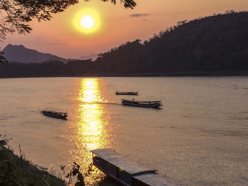 The Mekong River at sunset in Luang Prabang.