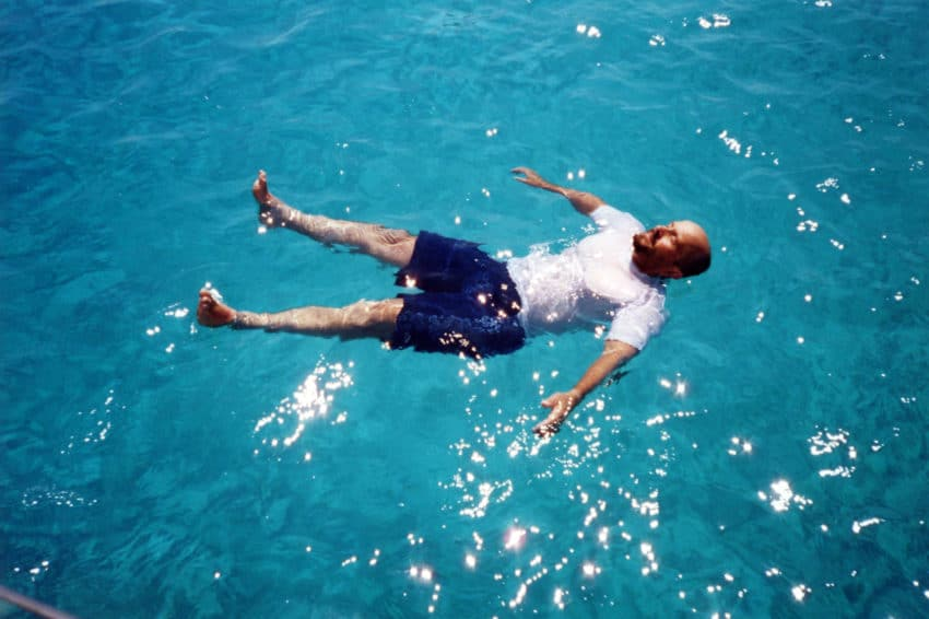 My good friend, Giovanni Bertolani, floating in Favignana in summer.