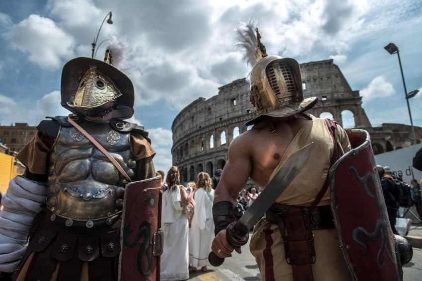 Gladiators on the annual parade route outside the Colosseum.