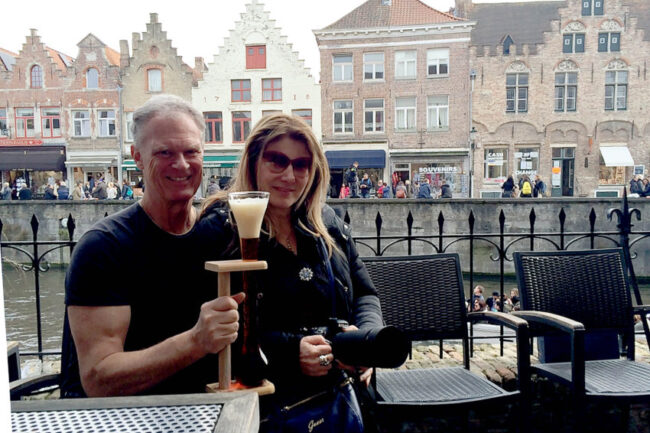 At 2.be Beer Wall. Bruges is a great weekend getaway for Marina and me.