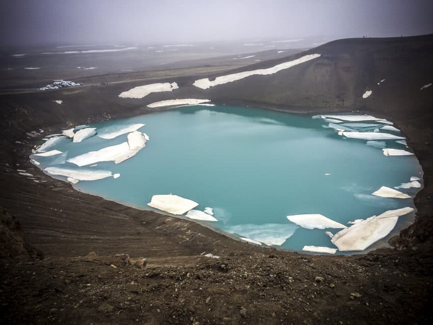 The Viti crater in North Iceland is 300 meters across and was created by an eruption in 1724.