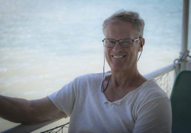 My new look. For the first time in my life, at 61 years of age, I'm wearing glasses. Photo by Marina Pascucci