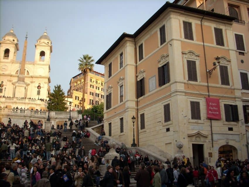 John Keats lived in a flat next to the Spanish Steps before his death.