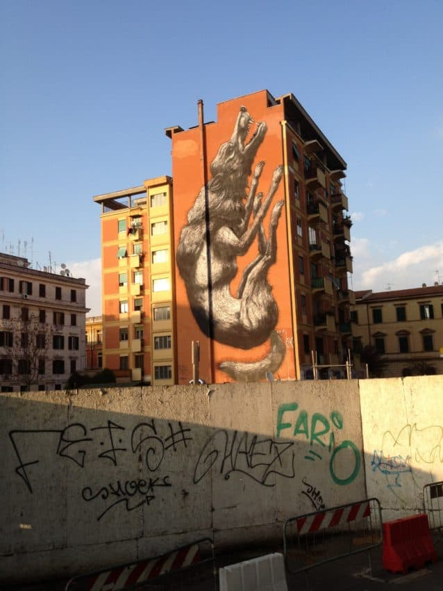 This painting of A.S. Roma's wolf can be seen from much of my Testaccio neighborhood where the club was born in 1927.