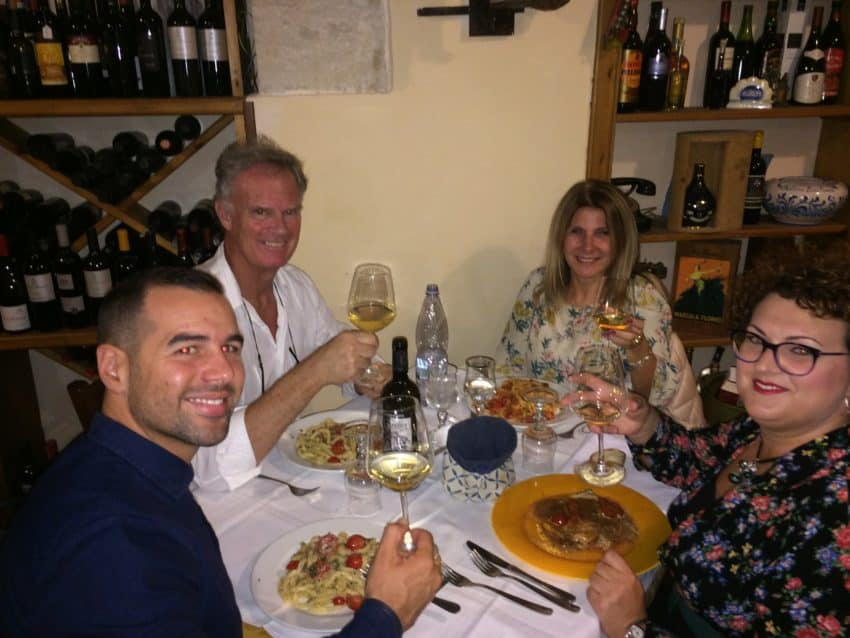 From left: Giuseppe, me, Marina and Patrizia at Cantina Siciliana.