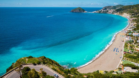 Unlike Capri, just to the south, Ischia has beautiful beaches.