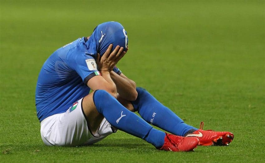 Alessandro Florenzi mirrors the feeling of his nation after the game. Photo NBC News