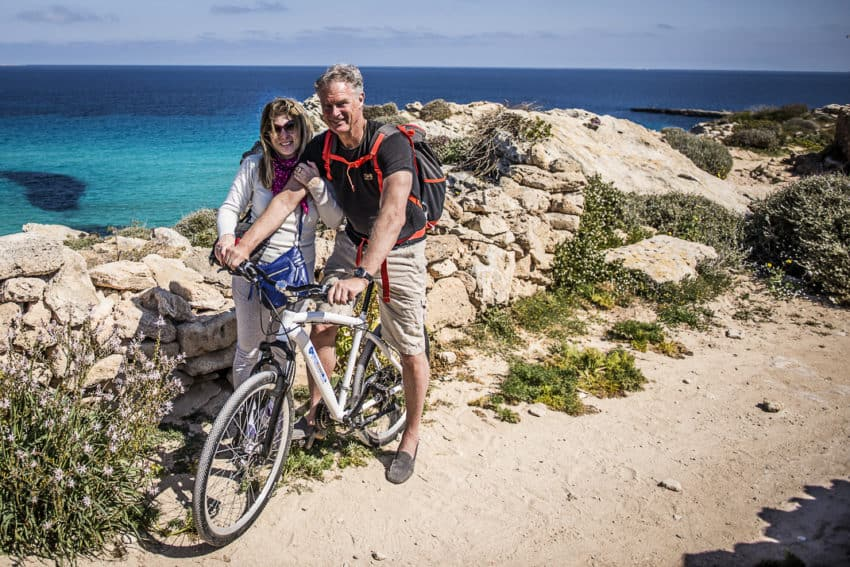 Marina and I. Bike is the main form of transport on Favignana.