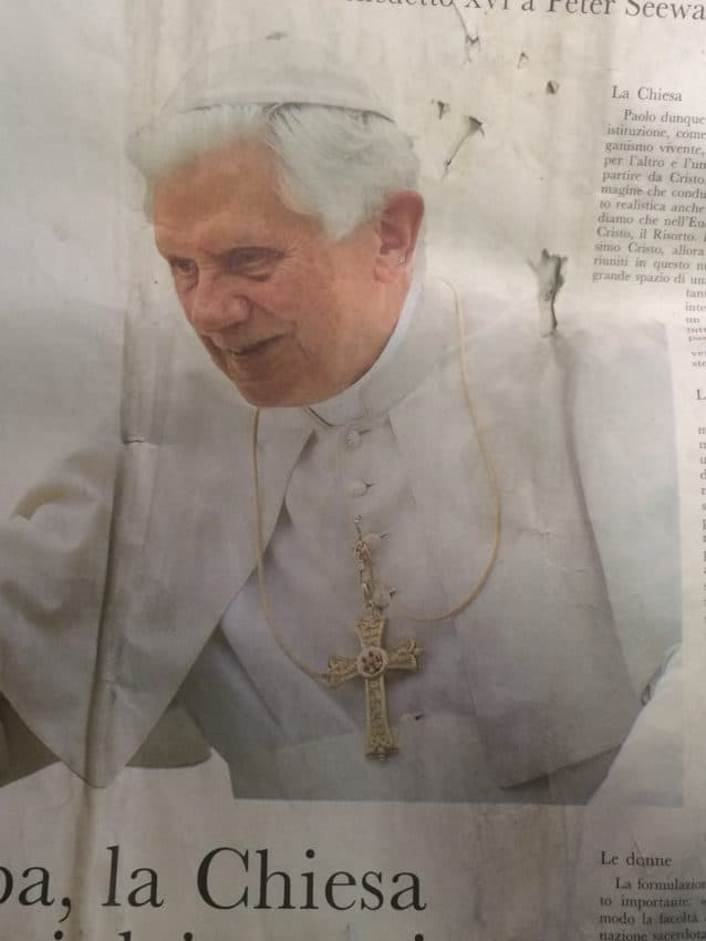 Pope Benedict XVI on the front page of L'Osservatore Romano.