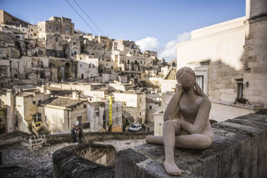 A statue on a resident's courtyard in the Sassi. Photo by Marina Pascucci