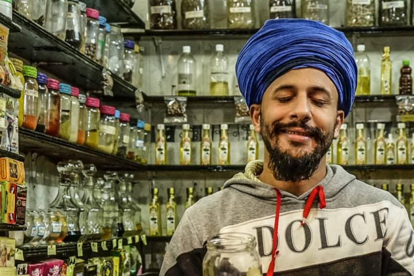 A body oil salesman in the medina. Photo by Marina Pascucci