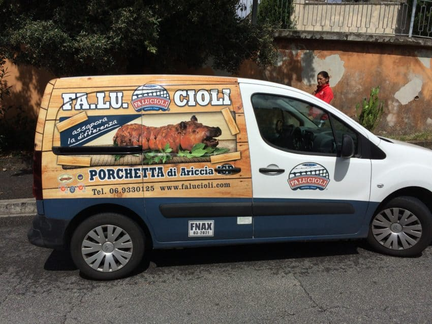 Porchetta truck in Ariccia, the birthplace of the suckling pig treat.
