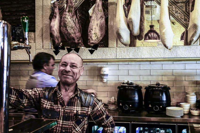 The counter at Adega Portuguesa, a local diner. Photo by Marina Pascucci