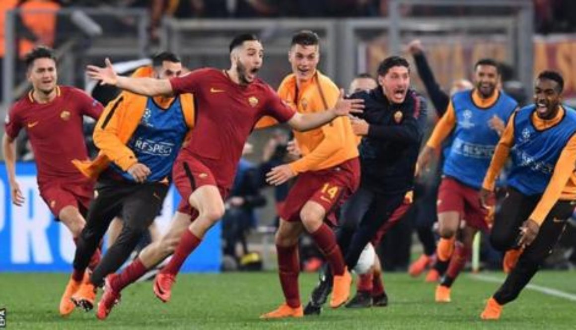 Kostas Manolas after his goal in the 82nd minute put Roma ahead 3-0. Cadena SER photo
