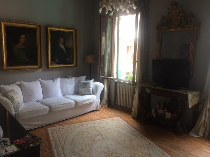 Our living room in our 16th century palace.