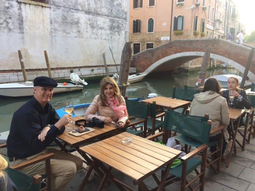 Marina and I celebrating our three-year anniversary outside Al Timon wine bar.
