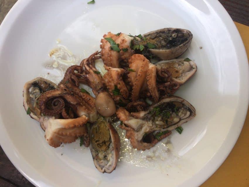 Octopus salad at Al Ponte di Borgo.