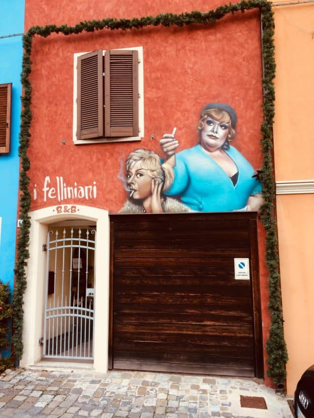 Frederico Fellini, raised in Rimini, is all over his hometown.