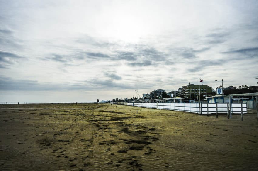 The beach in Rimini in December. Photo by Marina Pascucci