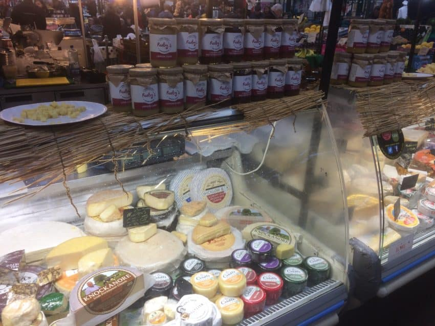 Cheeses and jams at St. George's Market.