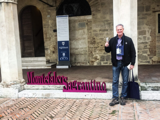 Me at my start of the Anteprima Sagrantino wine fair in Montefalco.