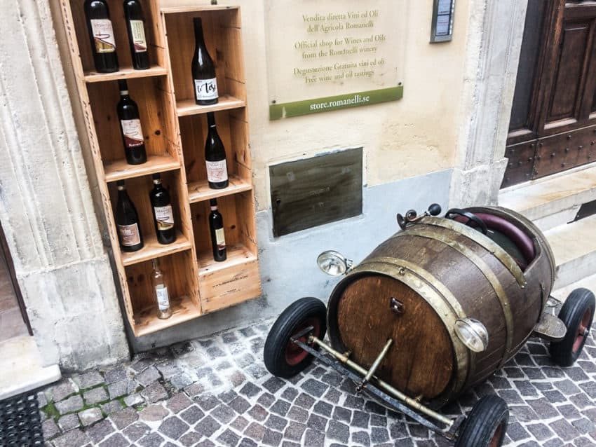 Wine stores with plenty of wine props are sprinkled all through Montefalco.