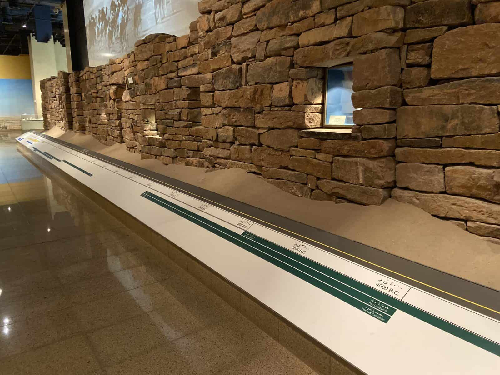 A display showing the evolution of Saudi Arabia societies in the National Museum.