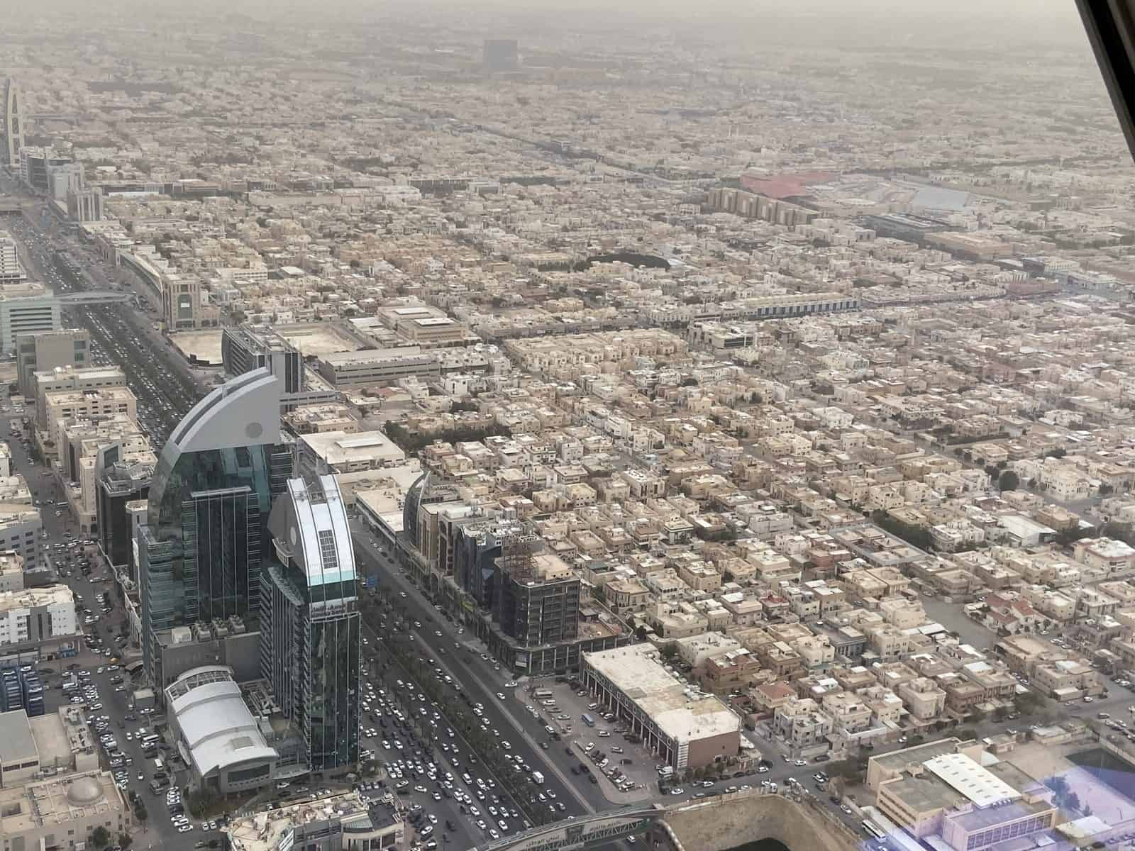 The view of Riyadh from the Kingdom Centre's Sky Bridge.