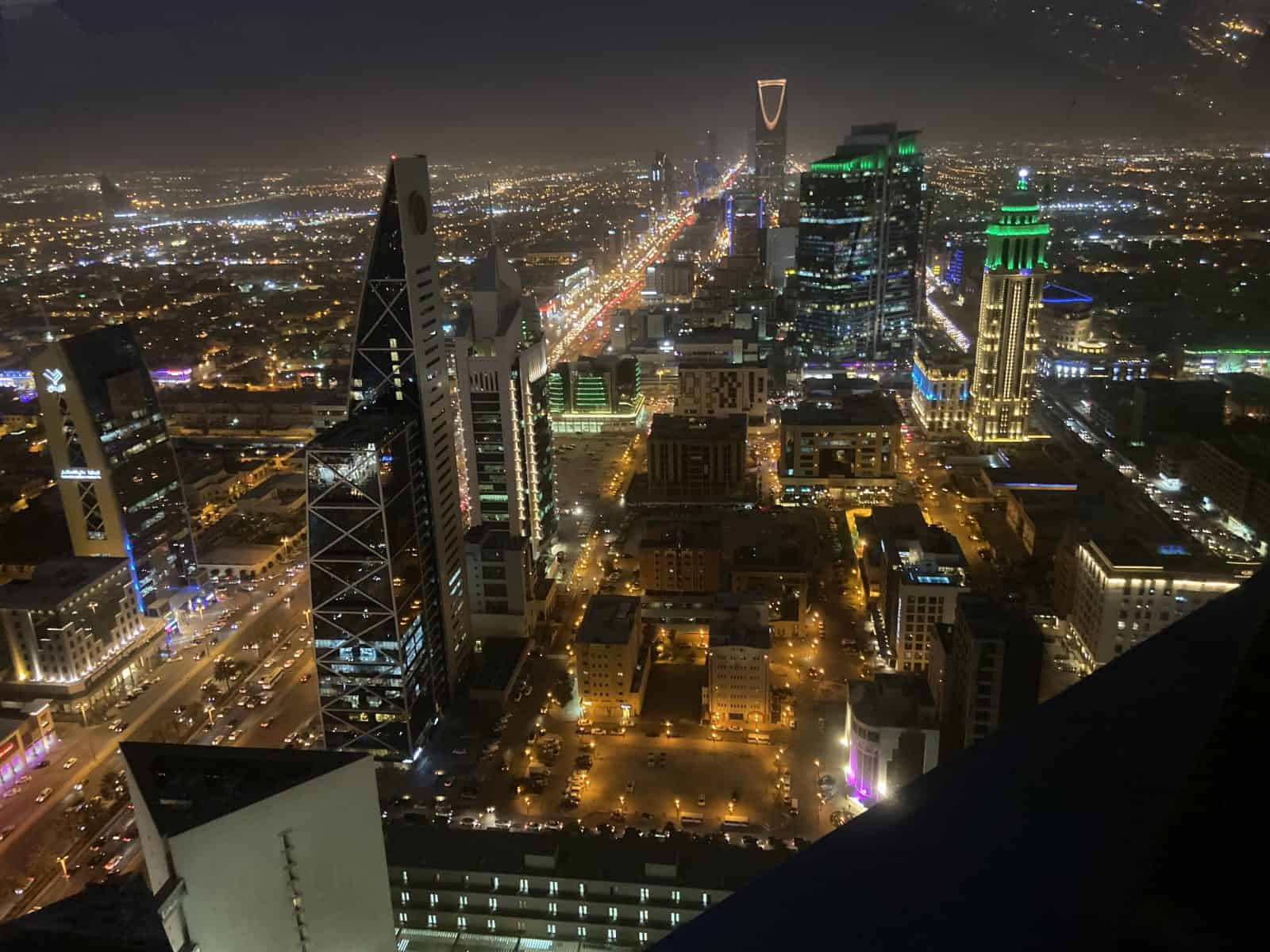The view from atop the Al Faisaliah Centre in Riyadh, Saudi Arabia.
