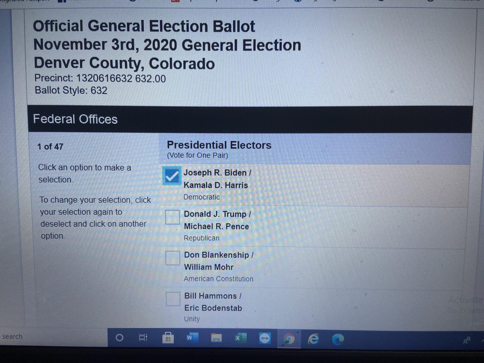 I voted Monday using Colorado's e-ballot. Isn't this a beautiful photo?