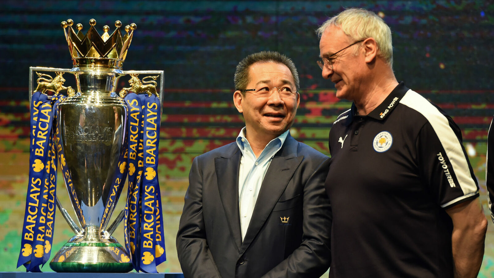 Owner Vichai Srivaddhanaprabha celebrating Leicester City's first Premiership crown with coach Claudio Ranieri.