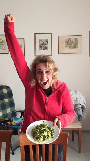 The fantasy of Italian food, Annamaria learned, is very true. Here she successfully made orecchiette con le cime si rapa (ear-shaped pasta with turnip tops).
